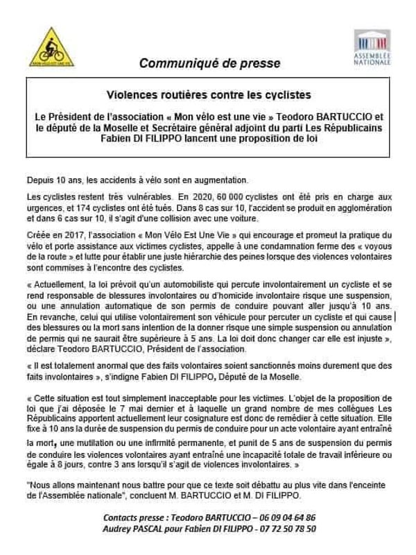 proposition de loi cycliste, violences cyclistes, violences volontaires cycliste