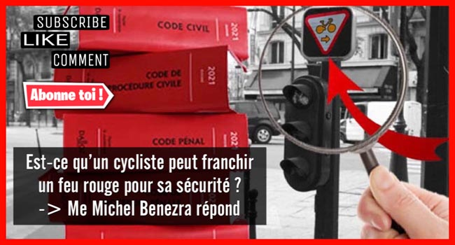 cycliste, accident, feu rouge, panonceau M12, accident cyclistes, responsabilité cyclistes, défense cyclistes, dommages corporels cyclistes