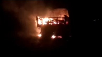 fire in crackers loaded truck on nh-34, people panicked
