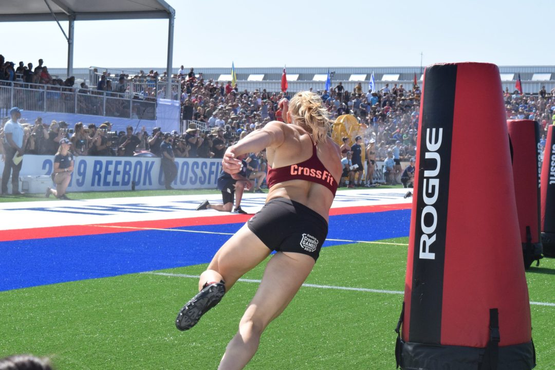 Annie Thorisdottir rounds a corner during the Sprint event at the 2019 CrossFit Games.