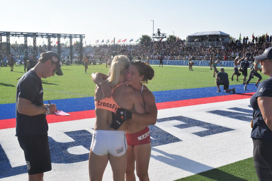 Tia-Clair Toomey hugs Katrin Davidsdottir after an event at the 2019 CrossFit Games.