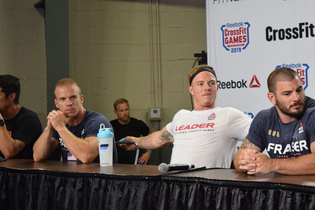 Scott Panchik at an end-of-day press conference with Dave Castro and Noah Ohlsen during the 2019 CrossFit Games