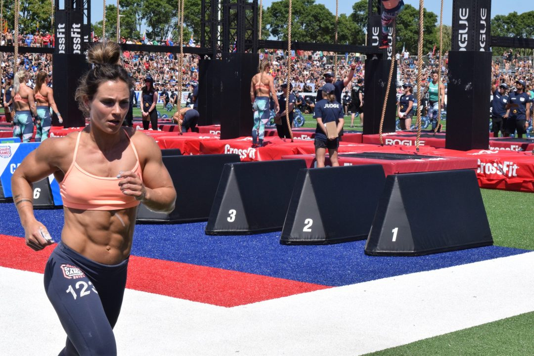 Jamie Greene takes a lap between rounds of legless rope climbs at the 2019 CrossFit Games