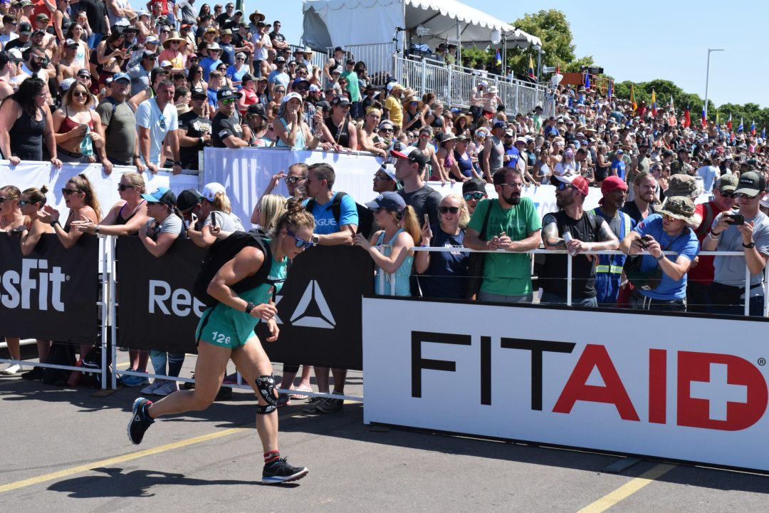 Carol-Ann Reason-Thibault completes the Ruck Run event of the 2019 CrossFit Games.