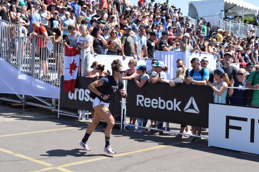 Karin Freyova completes the Ruck Run event at the 2019 CrossFit Games