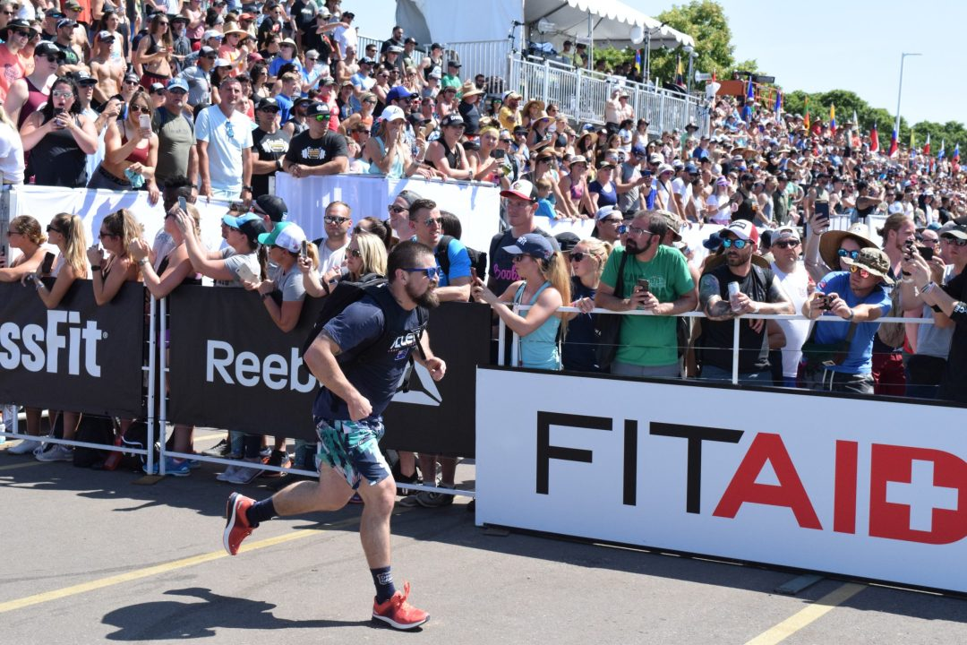 Matt Mcleod of Australia completes the Ruck Run event at the 2019 CrossFit Games