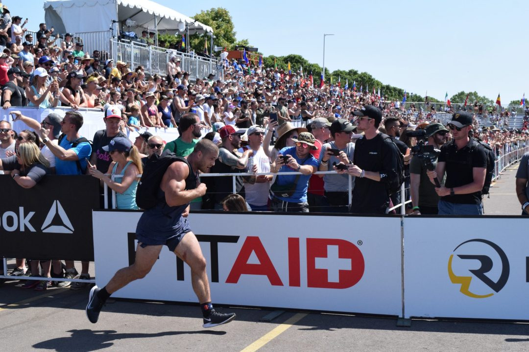 Jacob Heppner completes the Ruck Run event at the 2019 CrossFit Games.