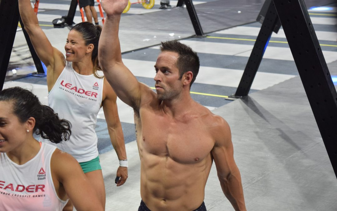 Rich Froning on the floor of the 2019 CrossFit Games with his CrossFit Mayhem Freedom team.