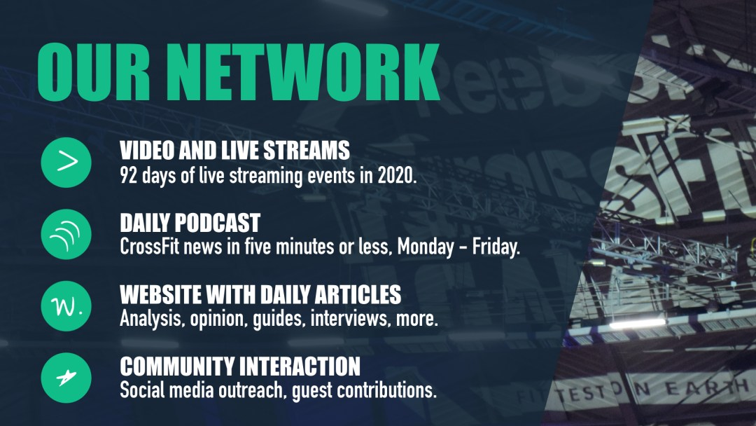 The four main functions of WODDITY's network include our live streams podcast, website, and interaction with the CrossFit community.