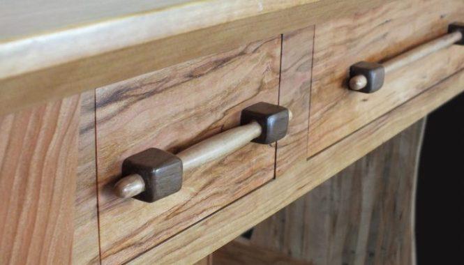 Custom wood drawer pull - writing desk