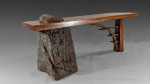 Stone and Wood Bridge Bench