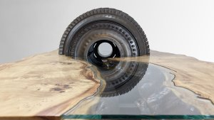 Glass river table, jet engine