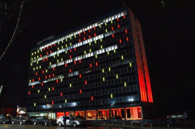 The illuminated facade