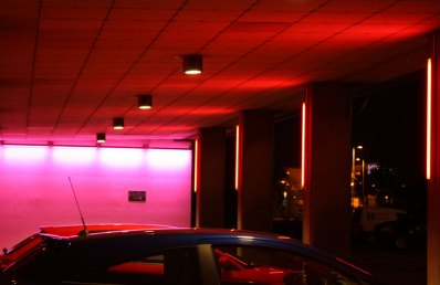 The car park in red light.