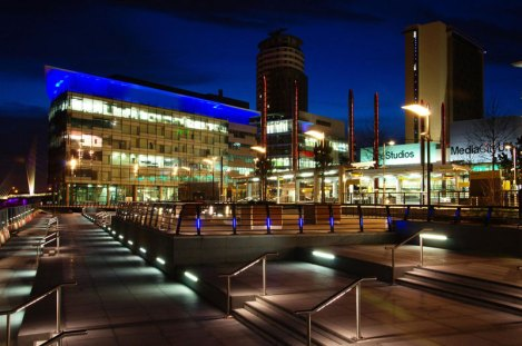 Media City UK lighting, waterfront in the evening.