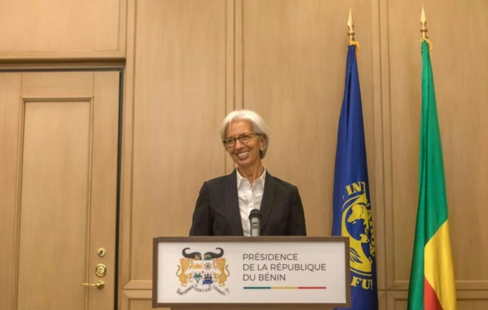 La directrice générale du Fond monétaire internationale (FMI) Christine Lagarde à Cotonou, le 11 décembre 2017. / Photo YANICK FOLLY. AFP
