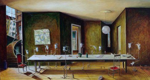 »Die Konferenz«, Benjamin Kerwien, Öl auf Holz, 60 x 40 cm, 2009