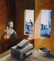 »Serie 1, Teil D«, Benjamin Kerwien, Öl auf Holz, 32 x 35 cm, 2013