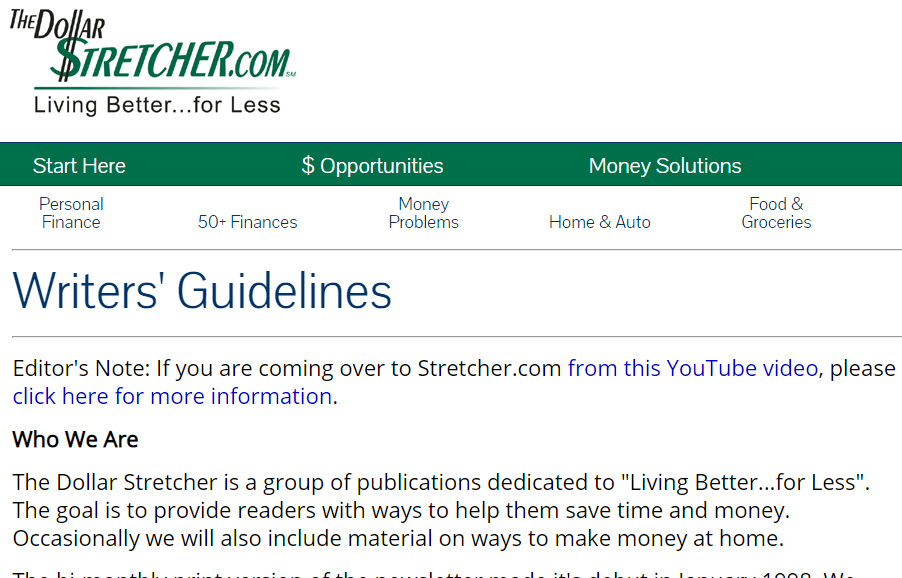 Make Money Writing Articles Dollar Stretcher