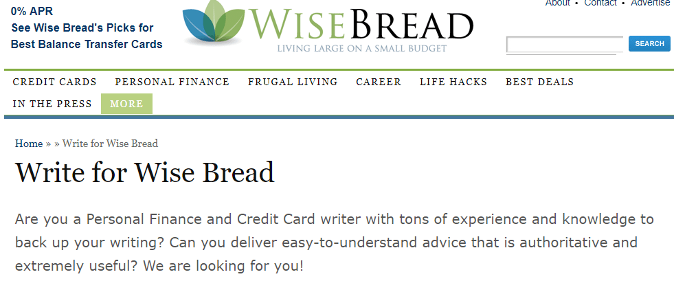 Write For Wise Bread