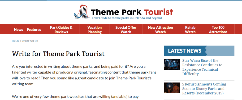 Write for Theme Park Tourist