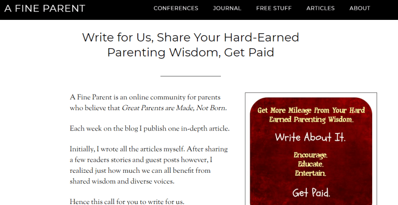 Write For A Fine Parent