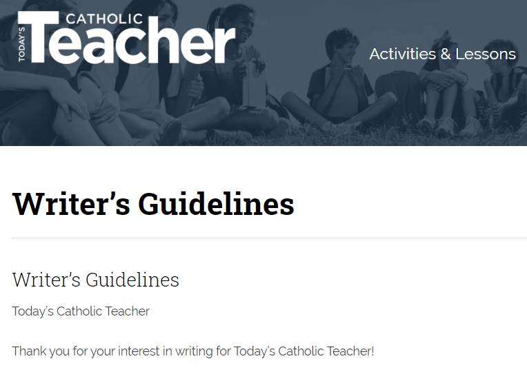 Write For Catholic Teacher