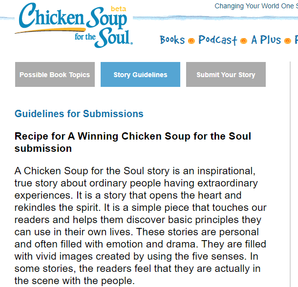 Write For Chicken Soup For The Soul