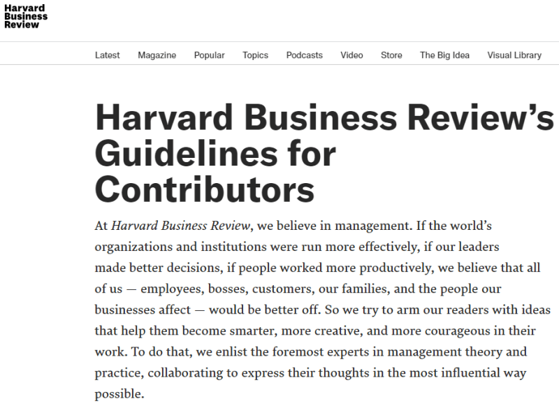 Write For Harvard Business Review