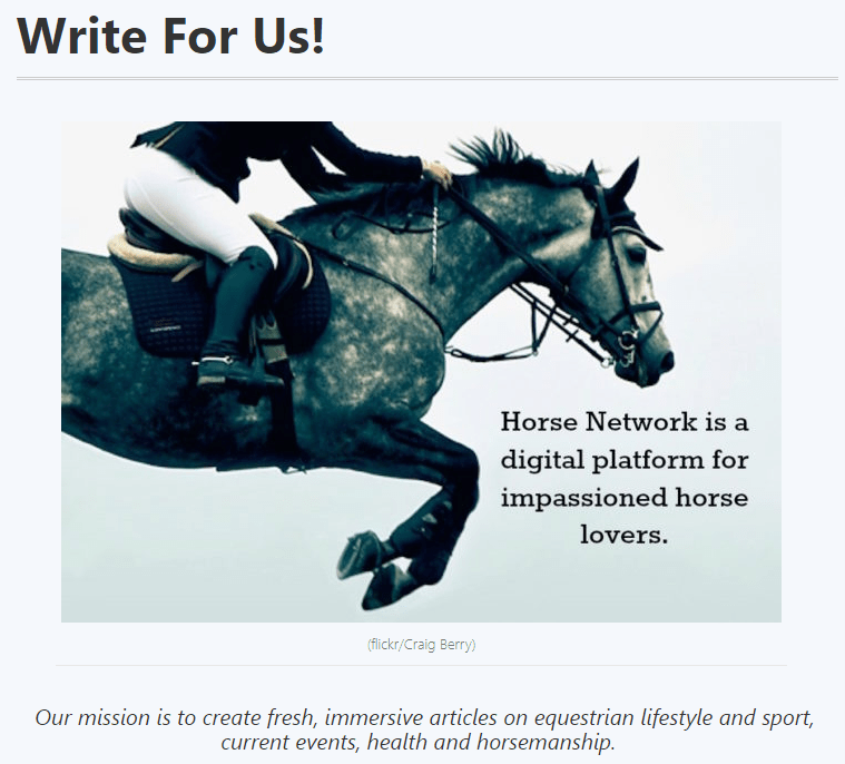 Write For Horse Network
