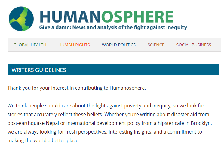 Write For Humanosphere