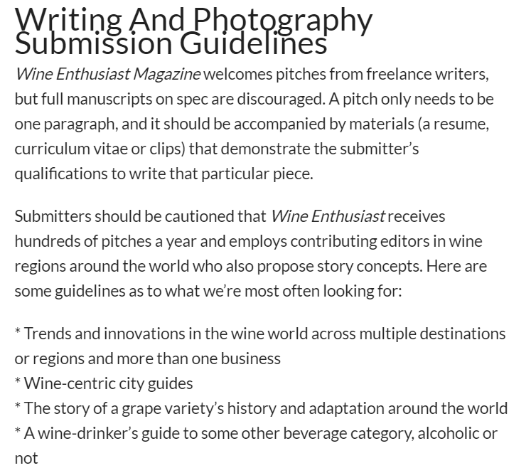 WineEnthusiast Write About Food