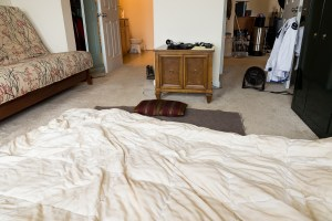 my sleep setup on the floor