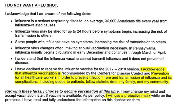 flu shot declination form with incriminating language