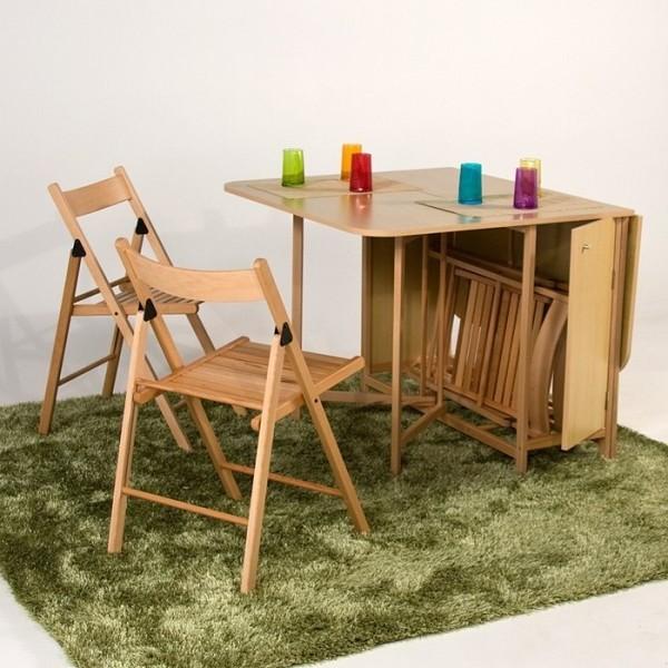 table pliante avec chaises integrees