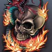 Skull and Snake Tattoo Print