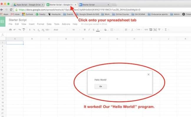 Google Apps Script menampilkan hello world