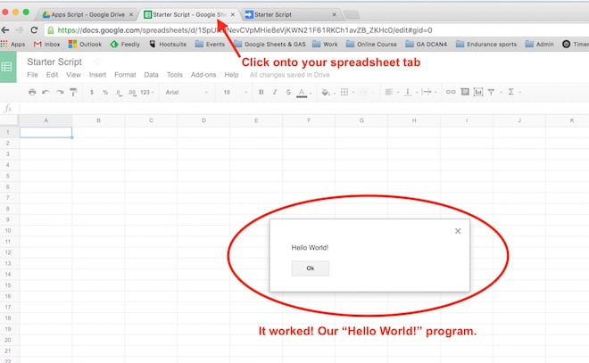Google Apps Script menampilkan hello world