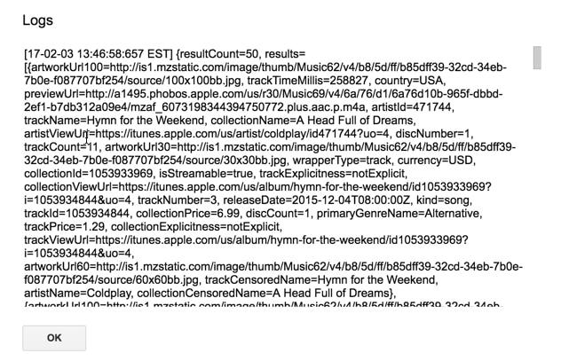 Paket data api iTunes