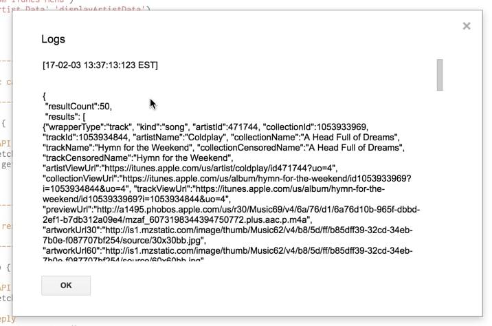 Output iTunes API