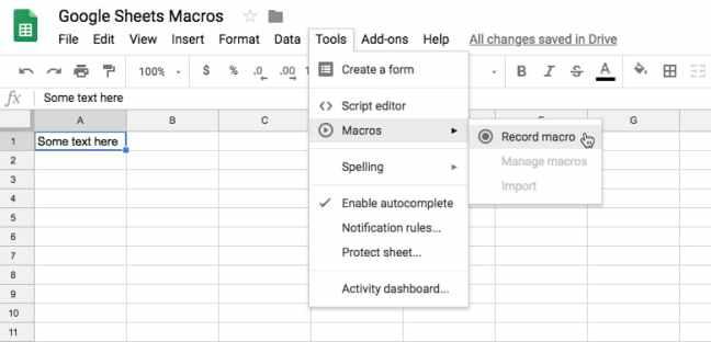 Menu makro Google Sheets