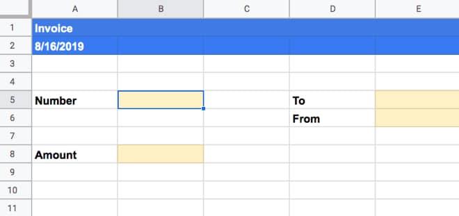 Tambahkan tombol ke contoh faktur Google Sheets
