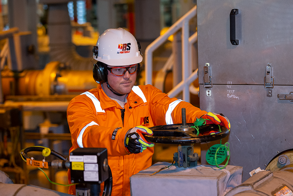 PBS worker on-site at Total E&P UK Shetland Gas Plant
