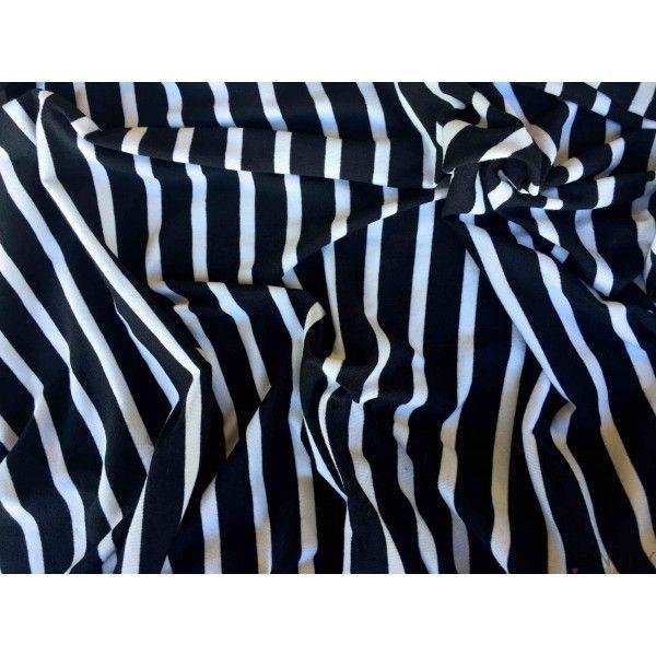 Jersey Polyester Rayure Noir fond Blanc