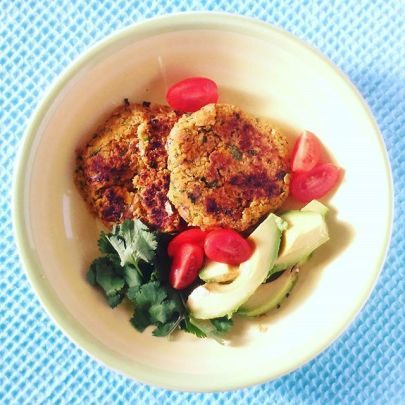 Chickpea and Almond Burgers with Avocado Salad