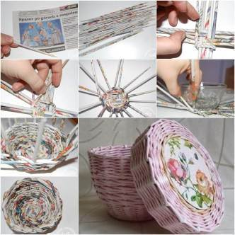 Creative-Ideas-DIY-Cute-Woven-Paper-Basket-Using-Newspaper-332x332