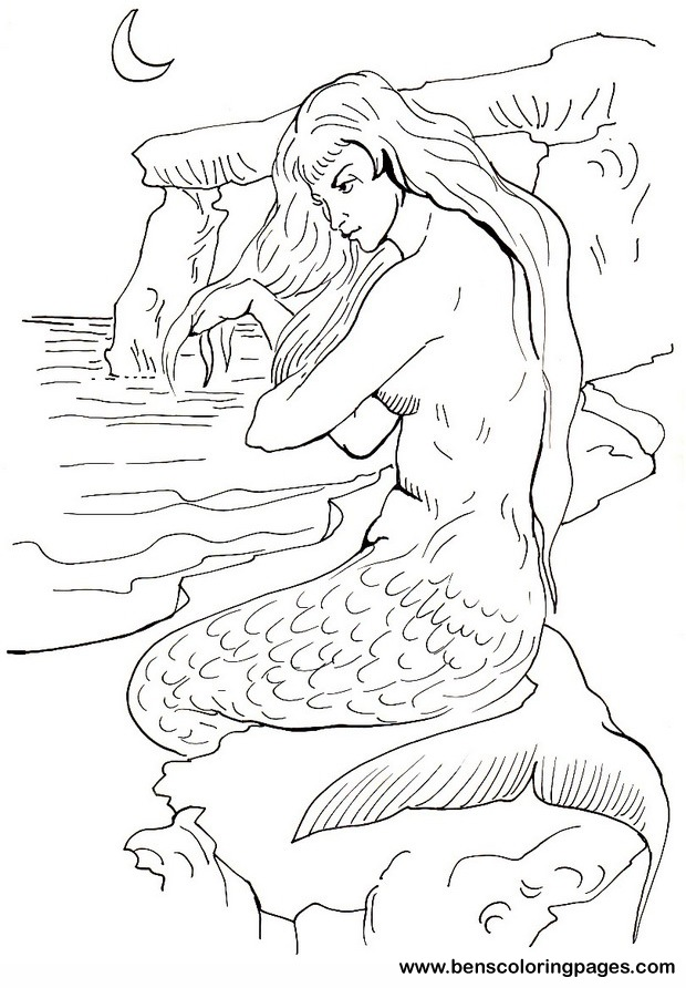 mermaid coloring pages for children