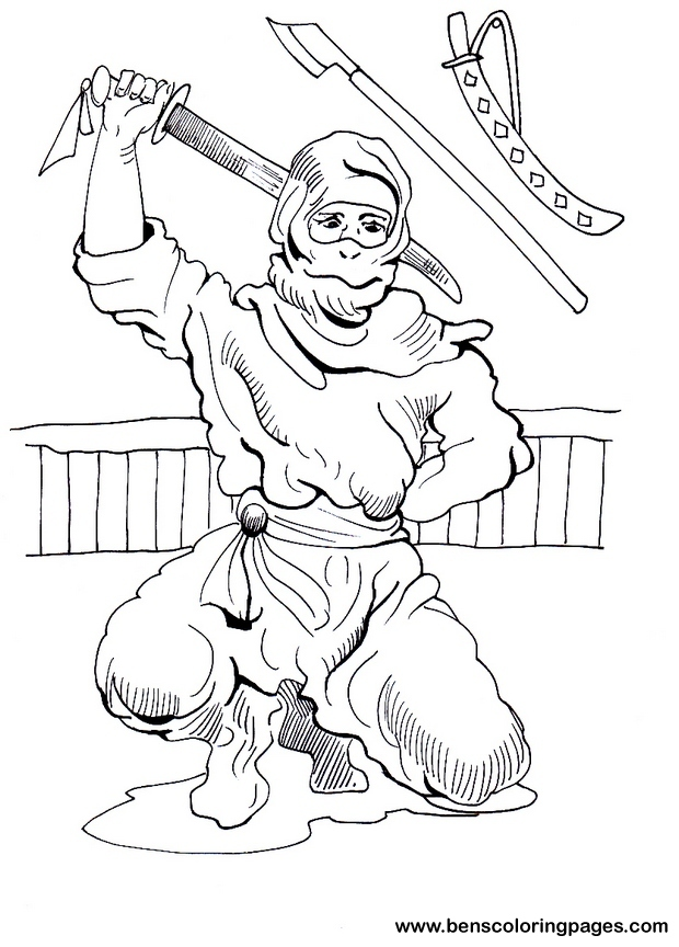 ninja warriors colouring pages