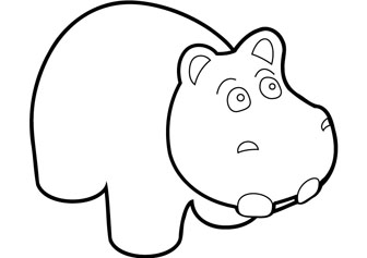 download free baby hippo coloring page
