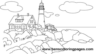 maine light house free coloring book